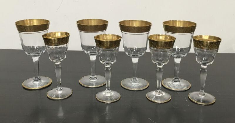 1930s Vntg Tiffin-Franciscan Rambler Gold Rim Crystal Cocktail Glasses set- 8