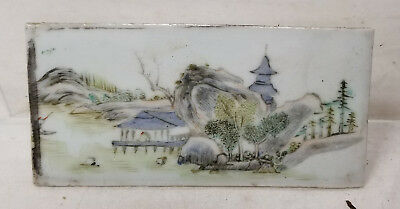 Antique VIntage CHinese Republic Porcelain Plaque Landscape