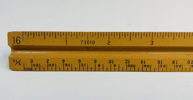 Vintage Triangular Wood Ruler No. 7301D Post, U.S. St