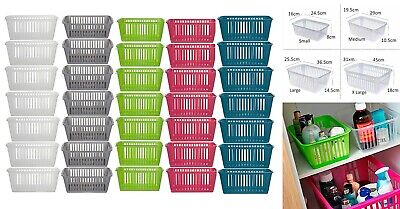 PLASTIC HANDY BASKET STORAGE TIDY ORGANISED PHARMACY HOME SCHOOL OFFICE WORK