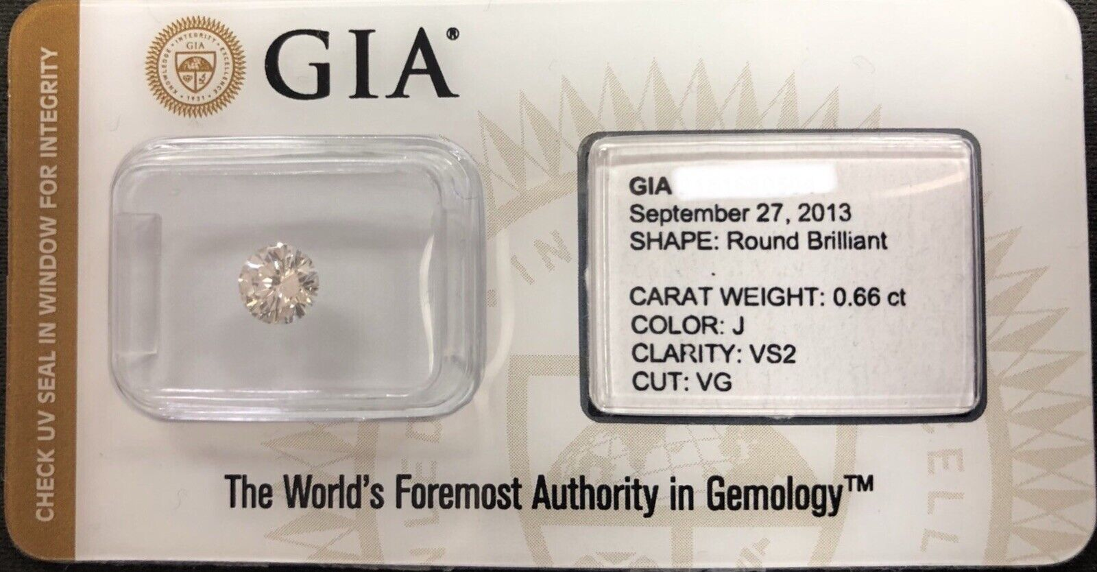 GIA Certified 0.66 Ct Round Brilliant J VS2 Very Good Cut Loose Natural Diamond