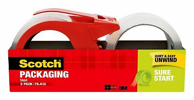 Scotch Sure Start Shipping Packaging Tape With Dispenser 1.88in X 38.2yd 2-pack