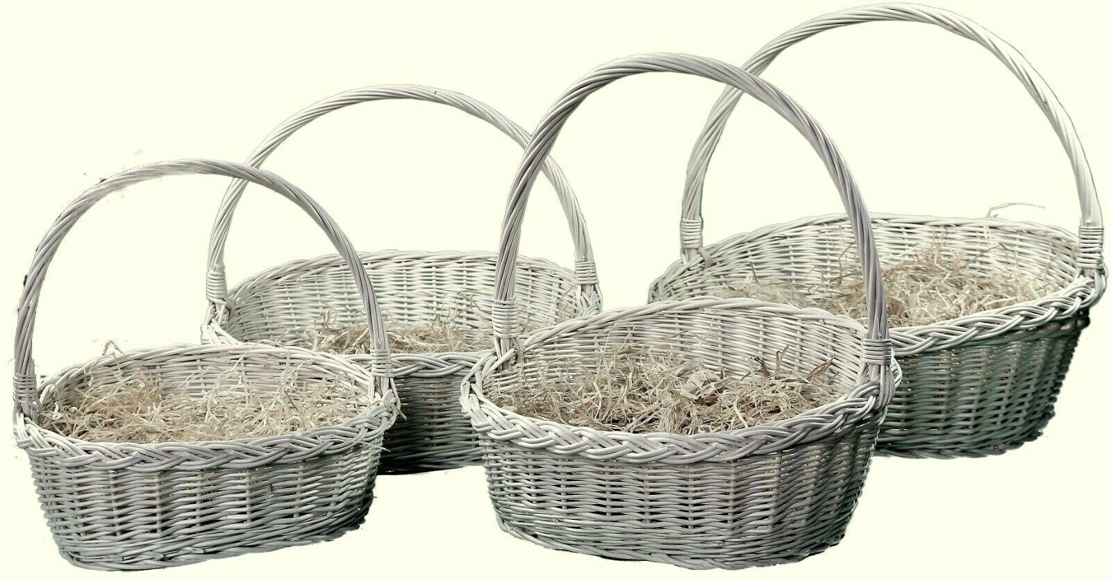 🎄🎄 Präsentkorb Weide Geschenkkorb geflochten leer weiß  Holzwolle Weihachten