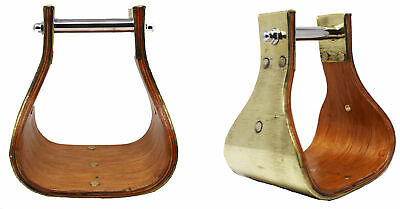 "Oak Wood Bell Stirrups Horse Saddle Stirrups 5.25/"" Wide 4/"" Tread 3/"" Neck"