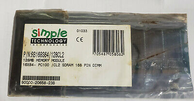 128MB MEMORY MODULE 16X64 PC100/CL2 SDRAM 168 PIN DIMM (NIP) 100 Pin Sdram Memory Module