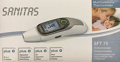 SANITAS SFT 75 Multifunktions-Thermometer Fieberthermometer Ohr und Stirn 6 in 1