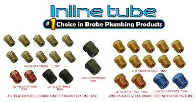 Standard SAE Inverted Flare Brake Line Fittings Nuts Assortment 3/16 1/4 Kit - Omega Front Brake