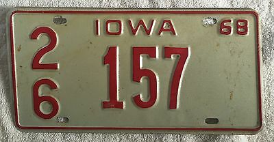 VINTAGE 1968 IOWA LICENSE PLATE AUTO CAR TAG FREE SHIPPING