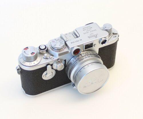 1955 Leica IIIF Red Dial Rangefinder Film Camera w/Leitz Summaron 35mm Lens f3.5