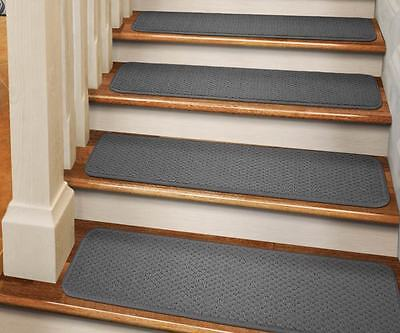 "Set Of 12 Tape-down Carpet Stair Treads 8""x27"" Gray Runne..."