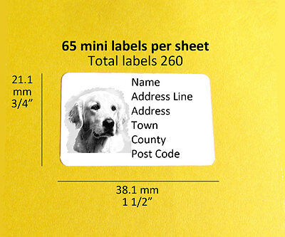 Golden Retriever 260 Personalised Dog Address Labels Stickers