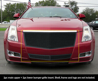 SS 1.8mm Black Mesh Grille Combo For 08-12 2011 2012 Cadillac CTS