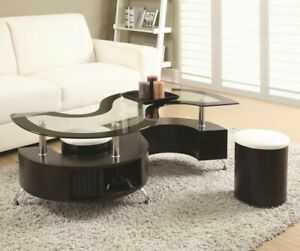 Black coffee table with two stools