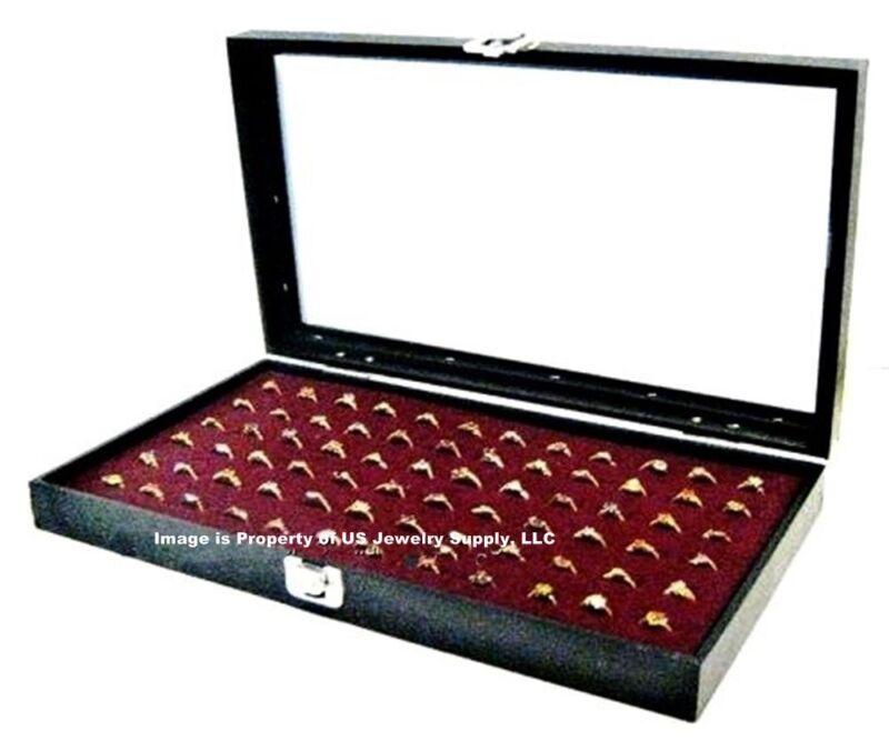 Glass Top Lid 72 Ring Burgundy Jewelry Display Box Storage Case + Bonus Items