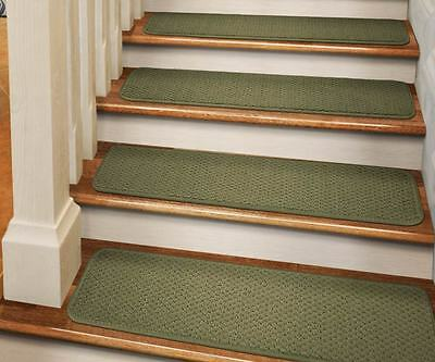 """Set Of 12 Tape-down Carpet Stair Treads 8""""x27"""" Olive Gree..."""