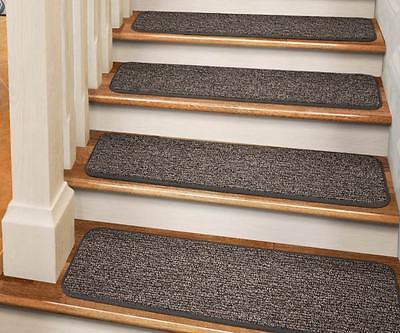 "Set Of 12 Tape-down Carpet Stair Treads 8""x27"" Pebble Gra..."