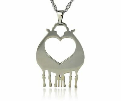 Stainless Steel Giraffes Neck Twisting Lover Heart Shaped Charm Pendant Necklace