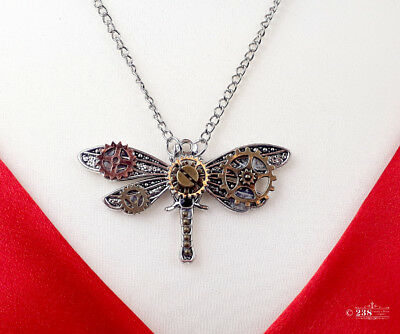 Ladies Girl Dragonfly Pendant Necklace Steampunk Gothic Style Costume Jewellery  - Steampunk Fashion Girl