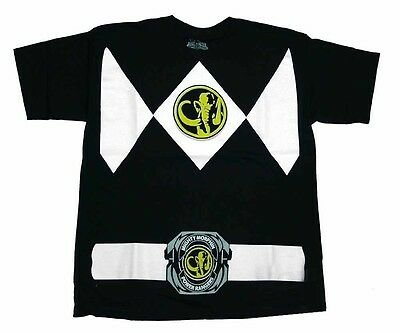 Power Rangers Black Ranger Costume Adult Black Shirt (Adults Power Rangers Costume)