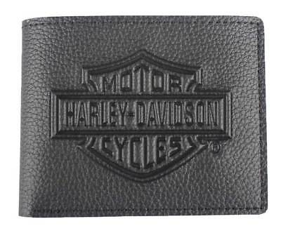 Harley-Davidson Men's Embossed B&S Logo Leather Billfold Wallet XML3554-BLACK Embossed Leather Billfold