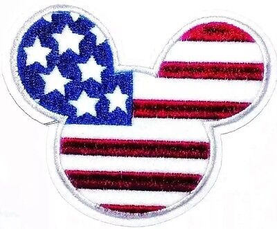 Mickey Mouse Patch 4th of July Flag USA Embroidered Iron On Applique 3.75