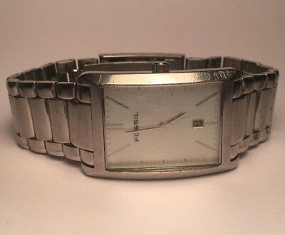 Fossil Arkitekt FS 4016 Men's Watch All Stainless Rectangle Face Date Large Band