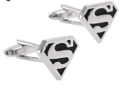 SUPERMAN CUFFLINKS 1 pair Super Hero Comic Silver Tone Black Enamel Logo