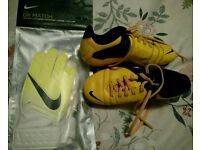 Kids Nike football boots and goalkeeper gloves