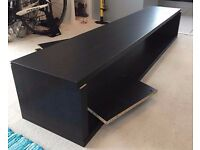 IKEA Besta TV Large Bench WITH Gloss Black Glass Top - Black/Brown