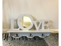 'LOVE' Shelf with small mirror and hooks