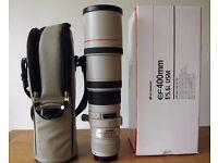 Canon EF 400mm f5.6 L USM Lens superb condition