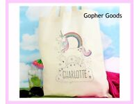 Personalised Unicorn Cotton Bag, New