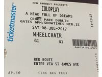2X ACCESSIBLE Coldplay Tickets Croke Park 08.07.17