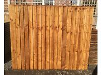 🛠New Pressure Treated Brown Feather Edge Flat Top Fence Panels• Top Quality