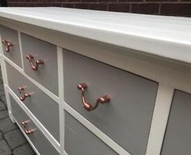 Hand painted solid oak sideboard