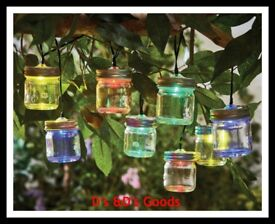 Multi coloured light up mason jars set of 8-NEW