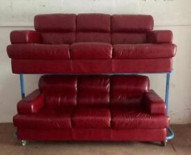 Cherry Red leather suite 2x3 seaters (Delivery Inc)