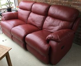 Red leather 3 seat sofa with dual recline