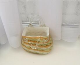 Ornamental glass handbag, greens/yellows,very heavy, ideal planter, beautifully crafted,unique