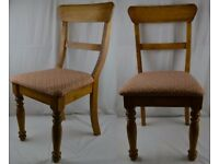 2 x Vintage Solid Oak J Burdekin Dining Chairs With Fabric Covers Kitchen Bent Wood Wooden