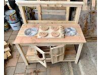 Children's Wooden Outdoor Twin Sink Mud Kitchen