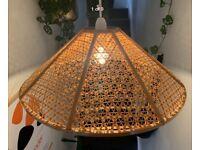Large Rattan Woven Lampshade Vintage Retro 1960s 70s Japandi Boho