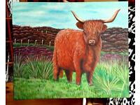 Hand painted highland cow