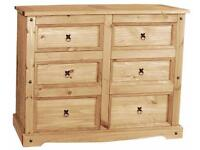 CORONA MEXICAN 6 DRAWER CHEST WIDE