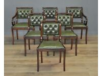 Set Of Six 6 Vintage Mahogany & Leather Dining Kitchen Chairs, With Carvers