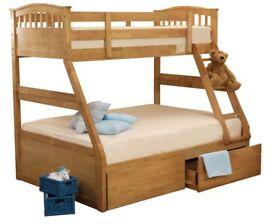 Sweet Dreams Epsom Oak Triple Triple Bunk Bed Solid Wood Underbed Drawers £