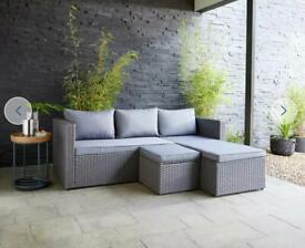 Rattan grey corner sofa