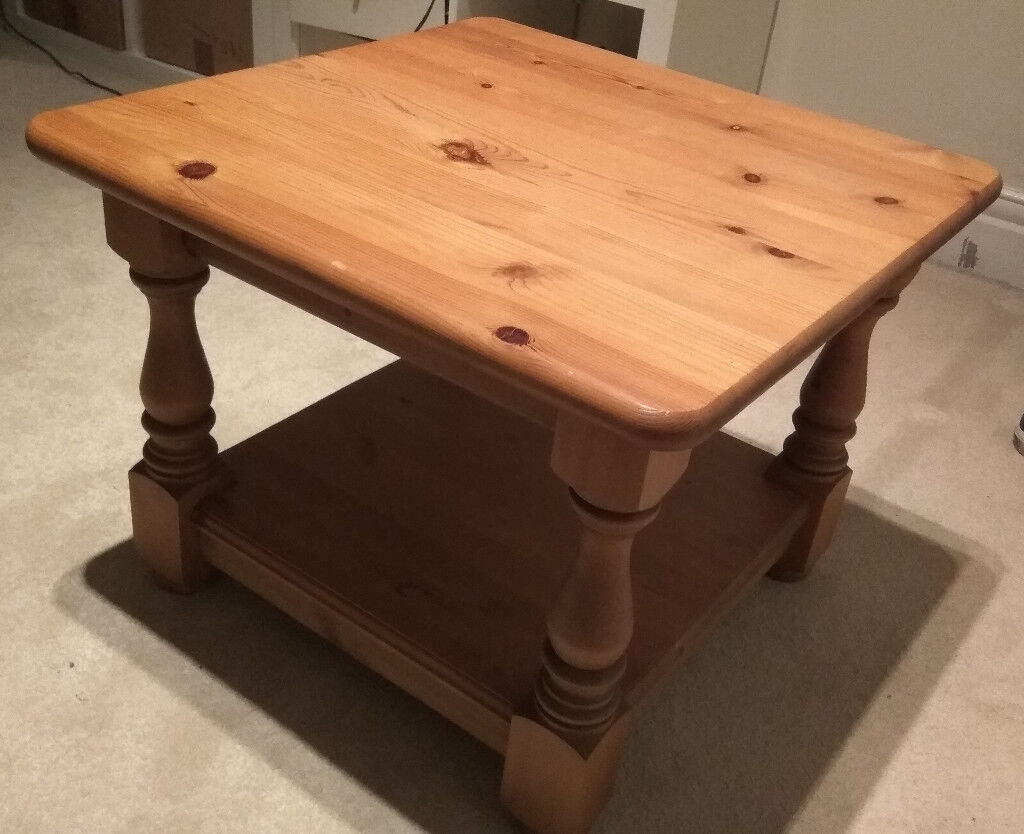Square Topped Pine Coffee Table