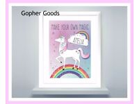 Personalised Unicorn Poster Frame, New