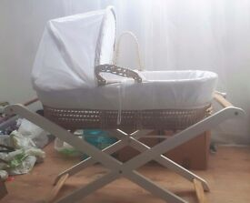 Unisex Moses basket with stand for sale